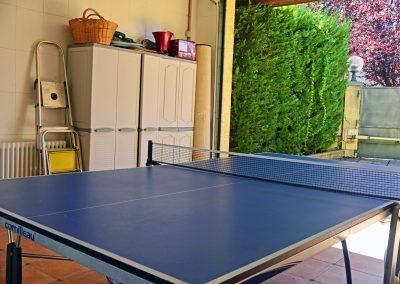 Mesa ping-pong en el garaje